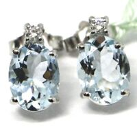 WHITE GOLD EARRINGS 750 18K, AQUAMARINE CUT OVAL, DIAMONDS