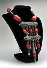 Vintage Large Cherry Amber Bakelite Bead Filigree Necklace