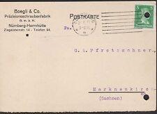 NÜRNBERG-HERRNHÜTTE, Postkarte 1927 Boegli & Co. Präzisionsschrauben-Fabrik GmbH