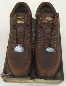 Skechers Men's Mariner Leather Utility Boots 4470 Dark Brown Size 14