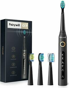 Fairywill D7 Electric Toothbrush w/ Timer, 5 Modes, 3 Brush Heads & 4 Hr Charge