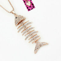 Betsey Johnson Crystal Rhinestone Fish Bone Pendant Sweater Chain Necklace Gift