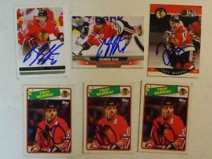 LOT OF 6 AUTOGRAPHED CHICAGO BLACKHAWKS Signed NHL HOCKEY CARDS TOPPS FLEER Etc