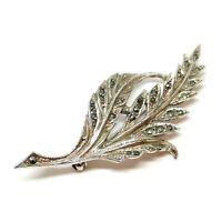 1950s BJL Brooch. Bead Set Marcasite Rhinestone. Bohemian Jewelery Ltd. Leaf.