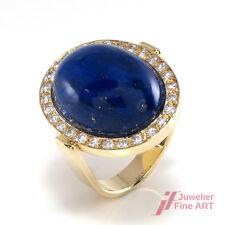 Ring in 14K/585 Gelbgold mit Lapislazuli & Brillantbesatz - Gr. 55 - 10 g