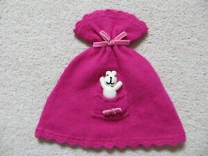 Baby Girls Monsoon Wool Angora Pink Knitted Teddy Bear in Pocket Hat Age 1-3 yrs
