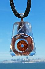 RARE BLUE FLUORITE Positive Energy Orgone Pendant with Silver and Copper.