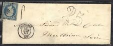 NAPOLEON EMPIRE N°15  25 cts bleu 1854 + taxe tampon  25  LETTRE COVER STAMP