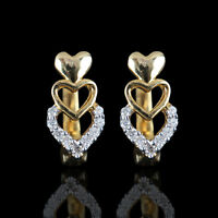 Solid 14k Yellow Gold HEART Stud Earrings Pave Natural Diamond Fine Jewelry NEW!