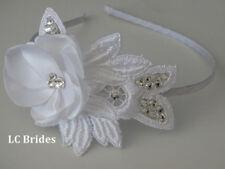 Bridal Headband Lace, Hair piece, Lace Headband with Crystals, White, Swarovski