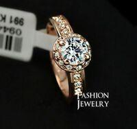 18K White / Rose Gold Plated Stunning Crystal Wedding Engagement Ring 0.8 Carat