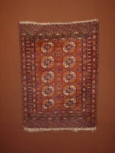 WONDERFUL ANTIQUE TURKOMAN TEKKE BOCHARA SMALL WEDDINGRUG ****HG***