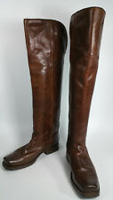 FRYE BROWN LEATHER SQUARE TOE VERY TALL RIDING BOOTS #77238 WOMENS 7.5 B