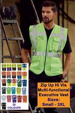Hi Vis Zip Executive Vest Hi Viz Multi-Functional Vest With Phone ID Pockets
