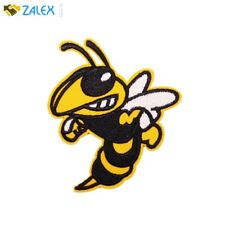 Sew Iron on Patches For Jeans Jacket Yellow Angry Bee Honeybee Patch Cloth Decor