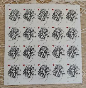 RARE US 4959 Vintage Rose 2015 Sheet of 20 Forever Stamps GENUINE LOVE Red HEART