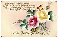 Antique hand painted flowers postcard greetings card An Easter Greeting