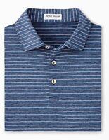 NWT Peter Millar Polo Golf Shirt Crown Sport Short Sleeve Navy Striped Size XL