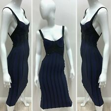 Herve Leger Bodycon Bandage Cocktail Dress Off Shoulder Knee Length A204 *L