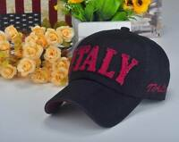 M176 White Letter ITALY Cotton Baseball Cap Buckle-back Hip-Hop Sun Hat Mens