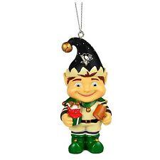 Pittsburgh Penguins Elf Christmas Tree Holiday Resin Ornament NHL NEW - Elf