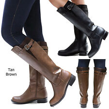 New Women SEno Black Tan Brown Buckle Riding Knee High Boots size 5.5 to 11