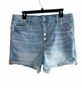 American Eagle Curvy Hi-Rise Shortie Denim Shorts Button Fly Women's Size 16