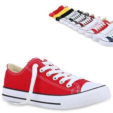 Damen Sneaker Low Basic Canvas Turnschuhe Schnürer Freizeitschuhe 826093 Trendy