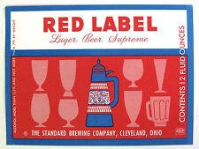Standard Brewing RED LABEL - LAGER BEER SUPREME  beer label OH 12oz