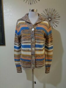 70s DADDY'S MONEY CALIFORNIA JRS BROWN/BLUE SPACE DYED SHAWL COLLAR CARDIGAN