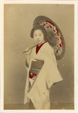 Japan, Geisha with Umbrella  Vintage albumen print.  Tirage albuminé aquarellé