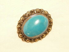 "TURQUOISE BROOCH , 3.7 X 3 CM, 925 STERLING SILVER / 14K GOLD ""NEW"" AUZ SELLER"