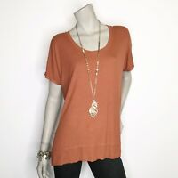 New Bordeaux Anthropologie Small Brown Short Sleeve Ribbed Top Shirt Tee