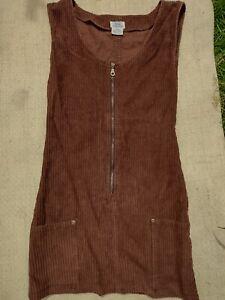 Corduroy Dress Brown Hippy Boho Pockets