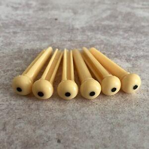 Set of 6 Acoustic Guitar Plastic Bridge Pins - Cream