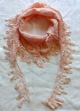 Tuch Halstuch rosa, Vintage-Spitze, Dreieckstuch Stola Häkel-Bommeln Schal