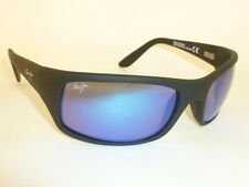 New Authentic Polarized  MAUI JIM PEAHI Sunglasses Matte Black B202-2M Blue Lens