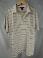 Banana Republic Pima Cotton Mens Tan Striped Short Sleeve Polo Shirt Size: XL