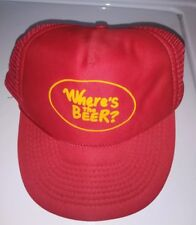 Vintage Trucker Hat Cap Where's the BEER? Mesh Snapback Red Yellow