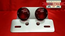 (L15)TWIN ROUND RED LIGHT STOP, TAIL & NUMBER PLATE LIGHT WITH NUMBER PLATE BRAC