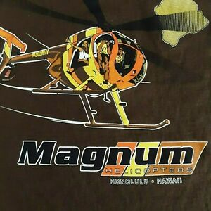 Magnum Helicopters Honolulu Hawaii Mens SZ-M Brown Hanes Graphic T-Shirt