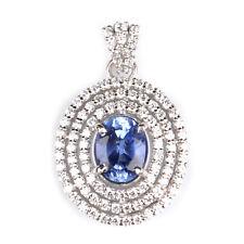 585er Weiß Gold 2,50KT Natürlich Tansanit EGL Zertifiziert Diamant Anhänger