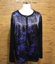 Chico's Travelers Collection 3 XL Shirt Button Front Satin Blue Black Gold