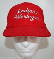 VINTAGE! Indiana Wesleyan University Red Corduroy Snapback Hat Cap NCAA College