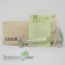 Krasr Jade Roller with Carrying Bag for Anti Aging Facial Massage Therapy