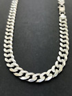 925 Sterling Silver 6mm Diamond Cut Pave Cuban Link Chain Necklace