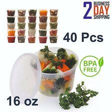 40 Pcs 16oz Large Plastic Food Storage Containers Set With Lids Durable Reusable
