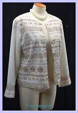 CWC Coldwater Creek jacket light coat suit blazer bead embellished linen open PM