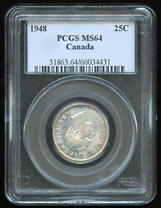 1948 Canada 25-Cents PCGS MS64