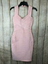 Herve Leger Bodycon Bandage Cocktail Dress Pink Nude Tank A811 *S